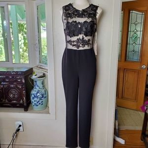 Formal Floral Illusion Lace Bodycon Jumpsuit